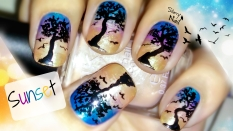 Sunset and Tree Silhouette with Flying Birds Nail Art