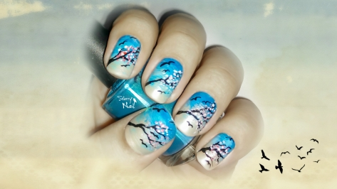 Sakura Flowers and Flying Birds Nail Art