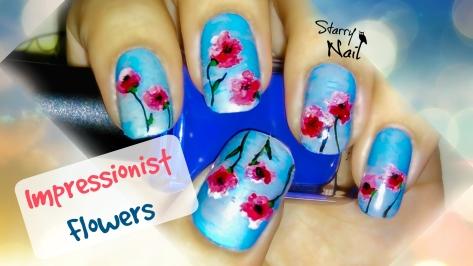 Impressionist Flowers Nail Art