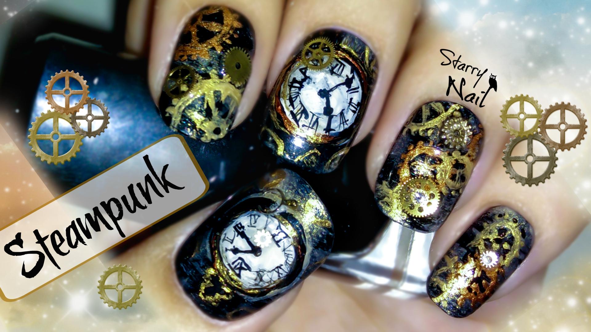 Steampunk nail art starrynail 30 july 2015 1920 1080 steampunk nail art prinsesfo Images