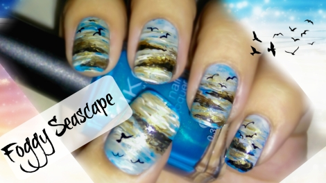 Foggy Seascape Nail Art