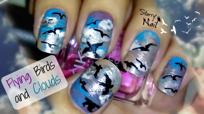 Flying Birds and Clouds Nail Art