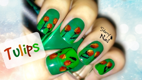 Elegant Tulips (Flowers) Nail Art Tutorial