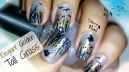 Elegant Golden Tall Grass, Birds and Butterflies Nail Art