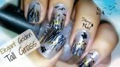 Elegant Golden Tall Grass, Birds and Butterflies Nail Art