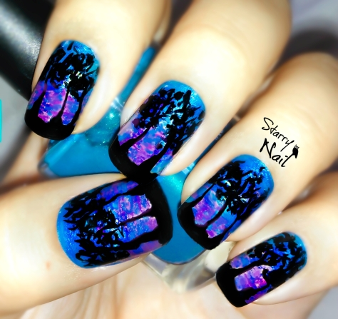 Sunset & Trees Nail Art