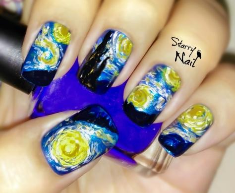 Vincent van Gogh Starry Night Nail Art