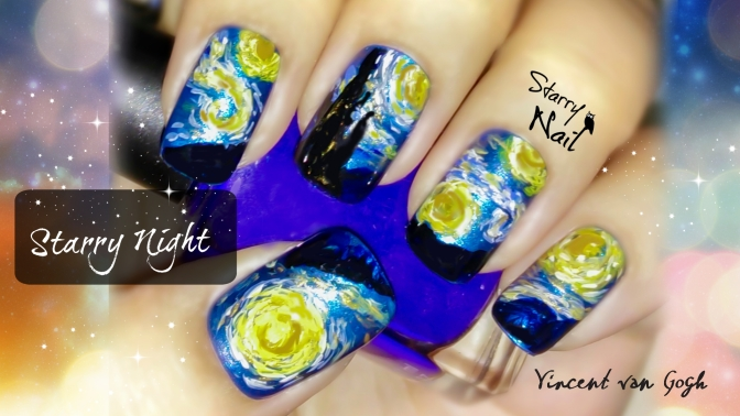 Vincent van Gogh Starry Night Nail Art