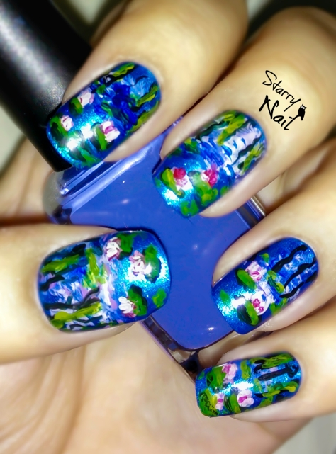 Monet's Water Lilies Nail Art