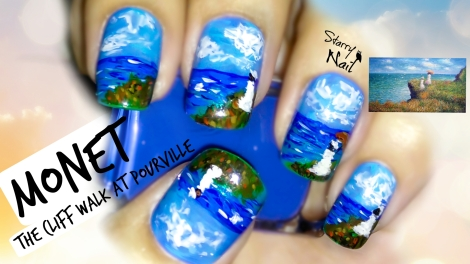Monet's The Cliff Walk at Pourville Nail Art