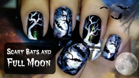 Scary Bats and Full Moon Halloween Nail Art
