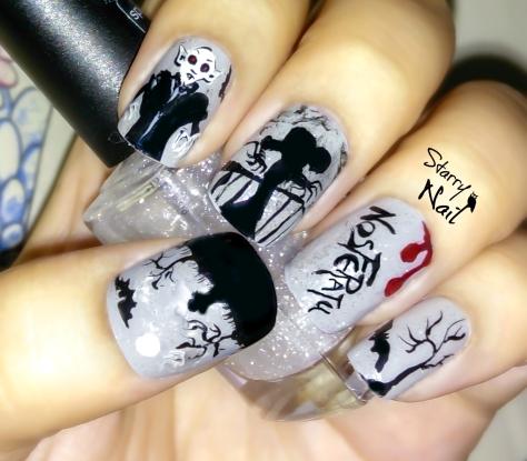Nosferatu Scary Vampire Halloween Nail Art