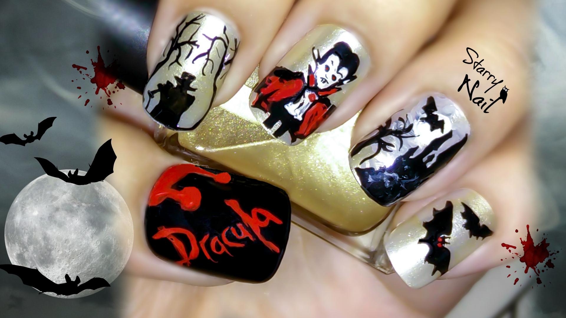Dracula vampire scary halloween nail art starrynail 2 august 2015 1920 1080 dracula vampire scary halloween nail art prinsesfo Choice Image