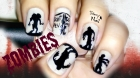 Zombie Silhouettes Scary Halloween Nail Art