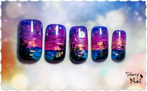 Magical Night on a Lake Nail Art