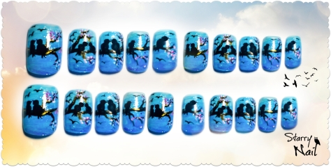 Love Birds on Blue Ombre Nail Art
