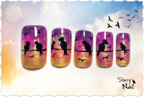 Birds on Power Wires Nail Art Tutorial