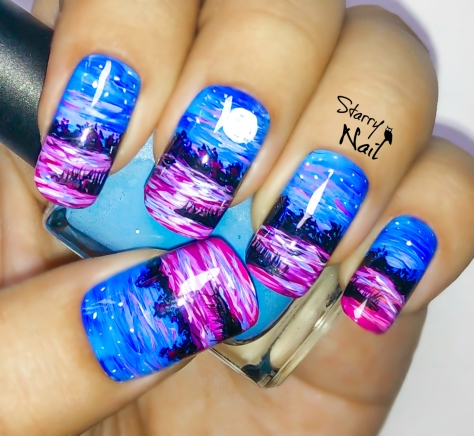 Night on a Pink Lake Nail Art Tutorial
