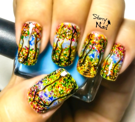 Watercolor Forest Nail Art