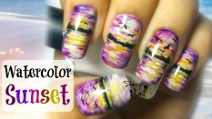 Watercolor Sunset Nail Art Tutorial