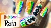 Watercolor Rainbow Rain Nail Art Tutorial