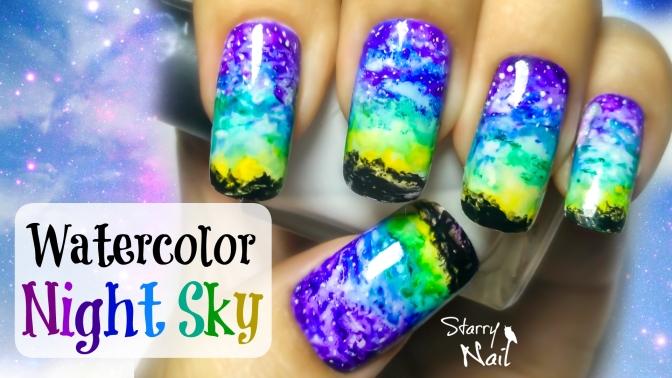 Watercolor Night Sky & Milky Way Nail Art Tutorial