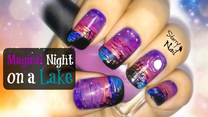 Magical Night on a Lake Nail Art