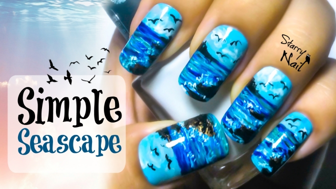 Simple Seascape Nail Art Tutorial