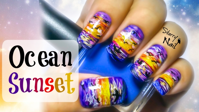 Ocean Sunset Nail Art Tutorial