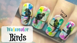 Watercolor Birds Nail Art Tutorial