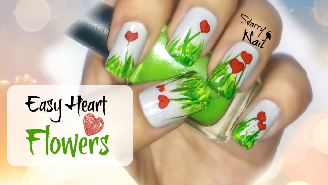 Easy Nail Art Tutorial for Beginners Cute Heart Flowers