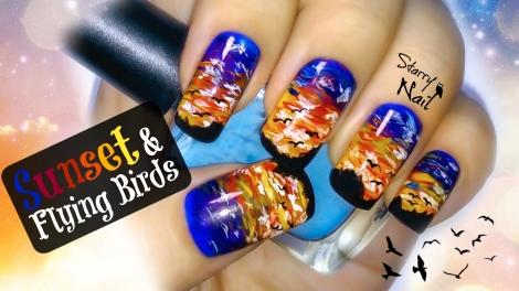 Sunset, Horizon & Flying Birds Nail Art Tutorial