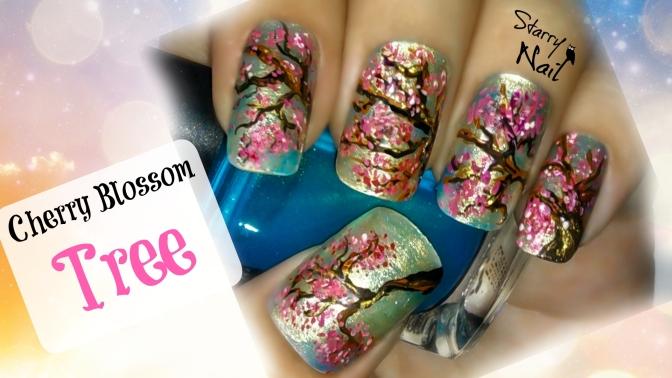 Cherry Blossom Tree Nail Art Tutorial