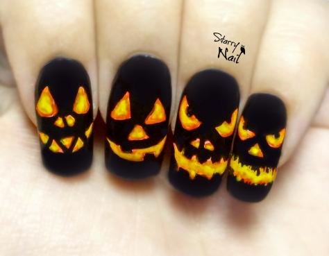 Halloween Pumpkins ⎮ Jack O'-Lantern ⎮ Easy Glow in the Dark Freehand Nail Art Tutorial