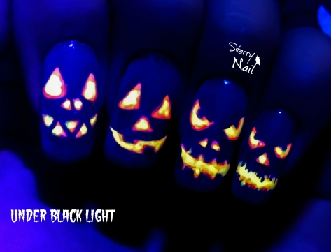 Halloween Pumpkins ⎮ Jack O'-Lantern ⎮ Easy Glow in the Dark Freehand Nail Art Tutorial