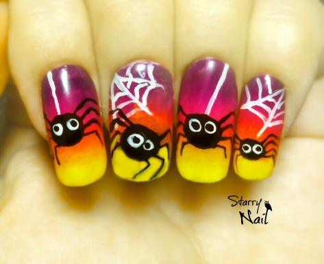 Halloween Cute Spiders ⎮ Easy Freehand Nail Art Tutorial