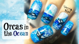 Orcas in the Ocean Freehand Nail Art Tutorial