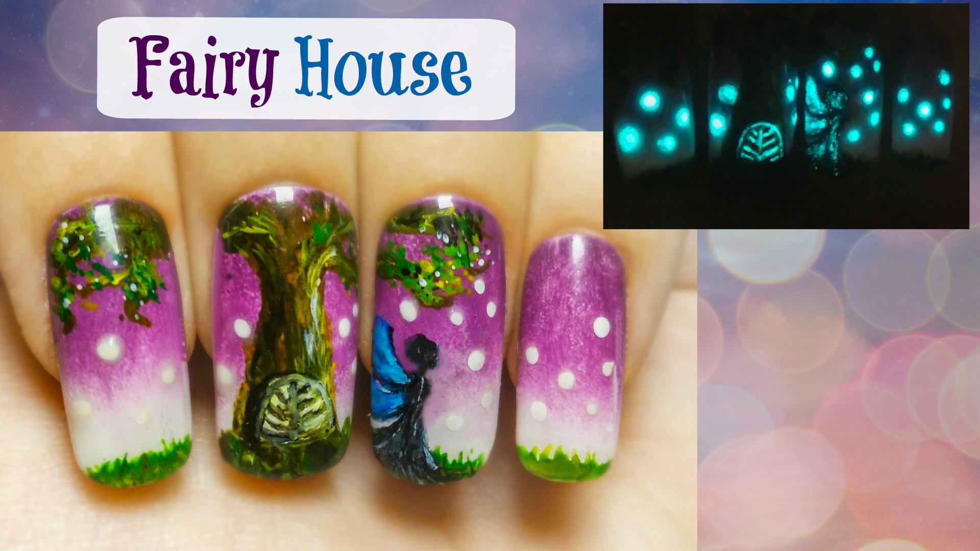 Fairy House ⎮ Glow in the Dark Freehand Nail Art Tutorial | StarryNail