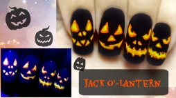Halloween Pumpinks ⎮ Jack O'-Lantern ⎮ Easy Glow in the Dark Freehand Nail Art Tutorial