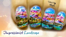 Impressionist Landscape Freehand Nail Art Tutorial