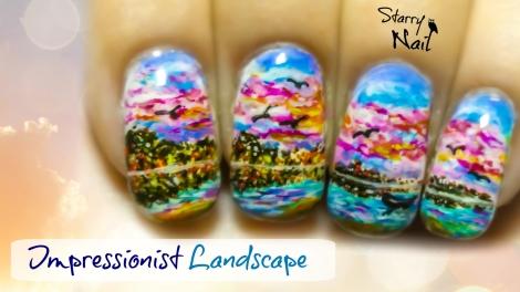 Impressionist Landscape Freehand Nail Art Tutorial