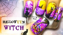 Halloween Witch Freehand Nail Art Tutorial