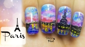 Watercolor Paris at Night Freehand Nail Art Tutorial