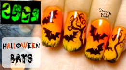 Easy Halloween Bats Glow in the Dark Freehand Nail Art Tutorial