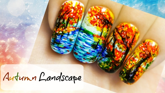 Autumn Landscape ⎮ Freehand Nail Art Tutorial