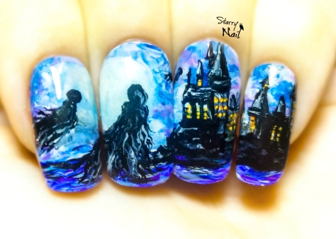 Dementors in Hogwarts ⎮ Harry Potter ⎮ Glow in the Dark Freehand Nail Art Tutorial