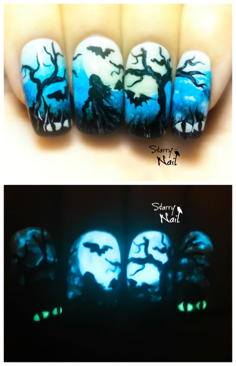 A Witch in the Woods ⎮  Halloween Glow in the Dark Freehand Nail Art Tutorial
