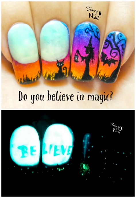 Do you believe in magic? ⎮ Halloween Witch ⎮ Glow in the Dark Freehand Nail Art Tutorial