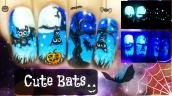 Halloween Cute Bats ⎮ Glow in the Dark Freehand Nail Art Tutorial