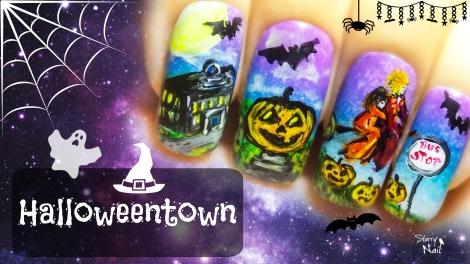Halloweentown ⎮ Halloween Witches ⎮ Freehand Nail Art Tutorial